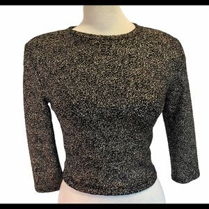 Forever 21 gold black long sleeve cropped sweater
